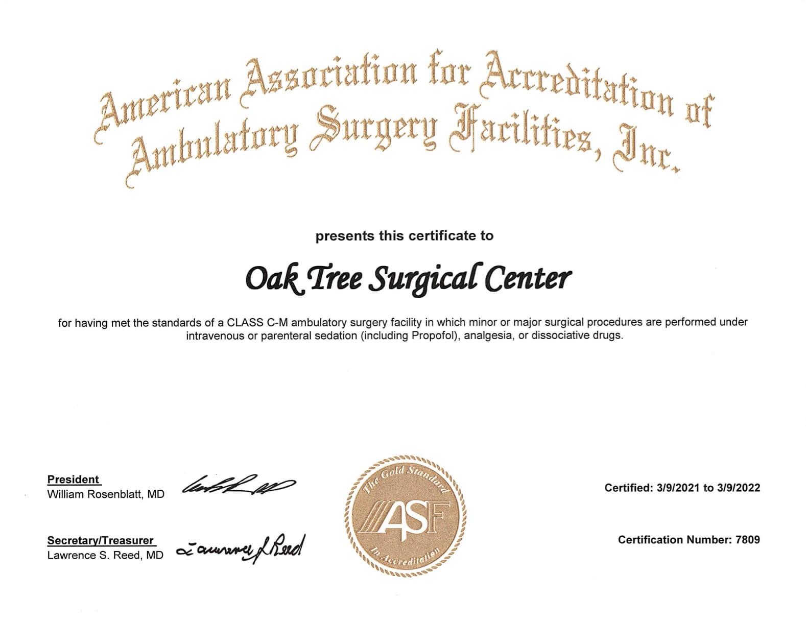 American Association for Accreditation of Ambulatory Surgery Facilities, Inc. certification