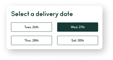 screenshot of delivery date