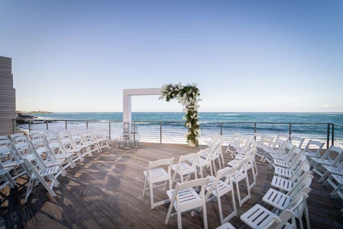 Outdoor wedding venue in front of ocean