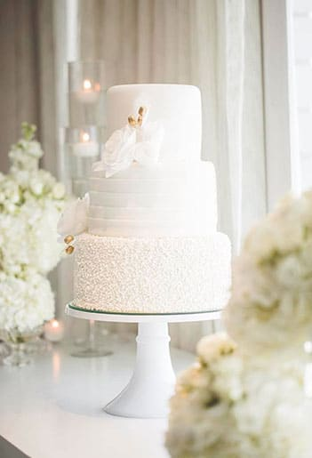 A wedding cake on a table