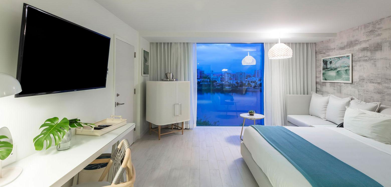 Room with ocean views at the Condado Ocean Club at night