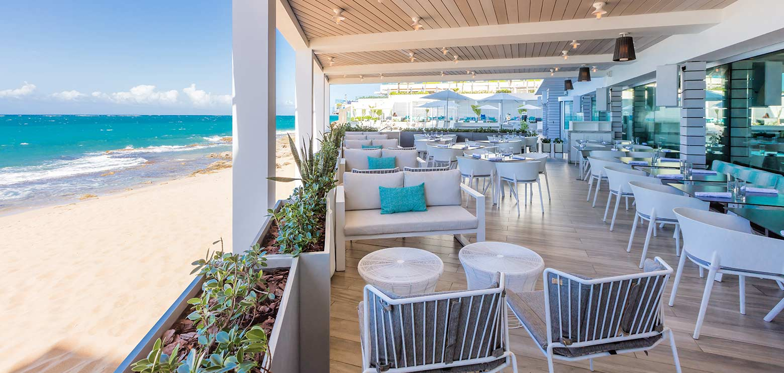 Outdoor covered seating at the Condado Ocean Club