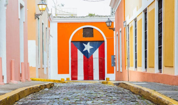 The Puerto Rico flag painted on a large door in San Juan