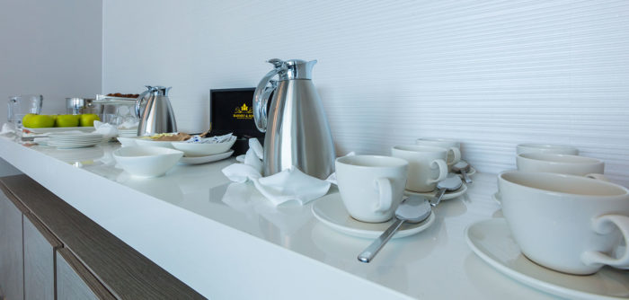 Coffee and refresh station in meeting room