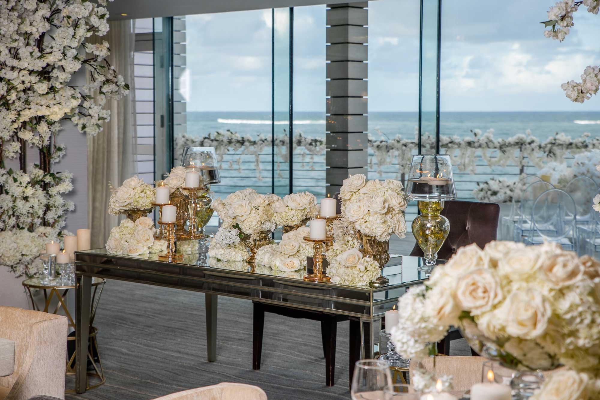 A indoor wedding venue with ocean views at Condado Ocean Club