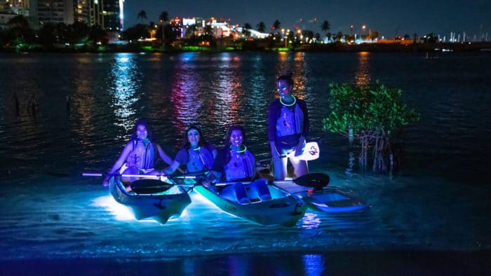 Four people on kayaks and paddleboards at night with neon lights