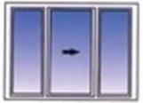 Three pane horizontal sliding window.