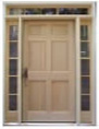 Front door with transom and sidelight windows.