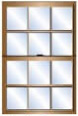 Double sash window with 6 panes in each portion of the window.