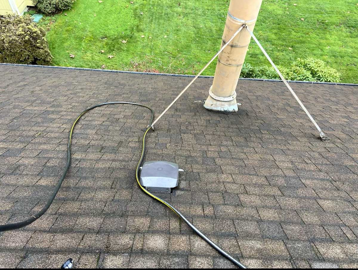 Recently cleaned shingle roof