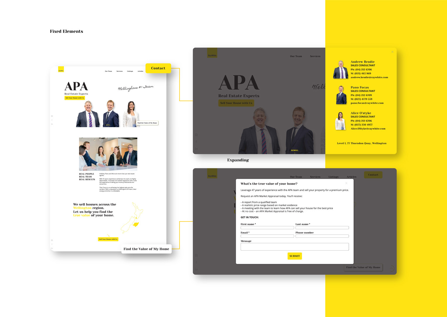 User interface designs for APA Ray White website