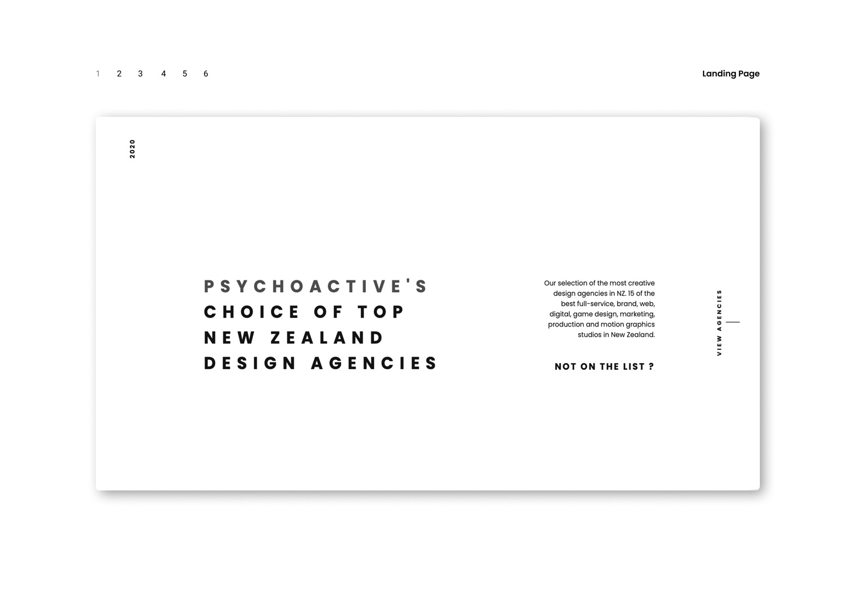 User interface designs for NZ Design Agencies website