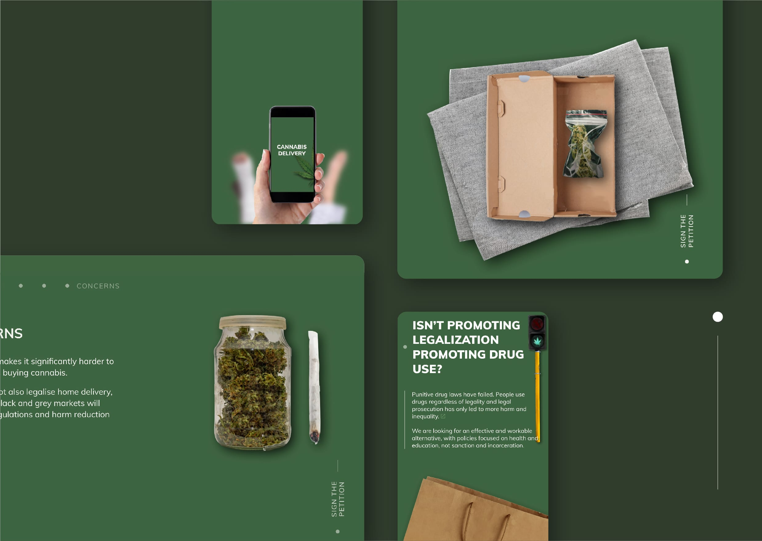 User interface designs for Legalise Weed website
