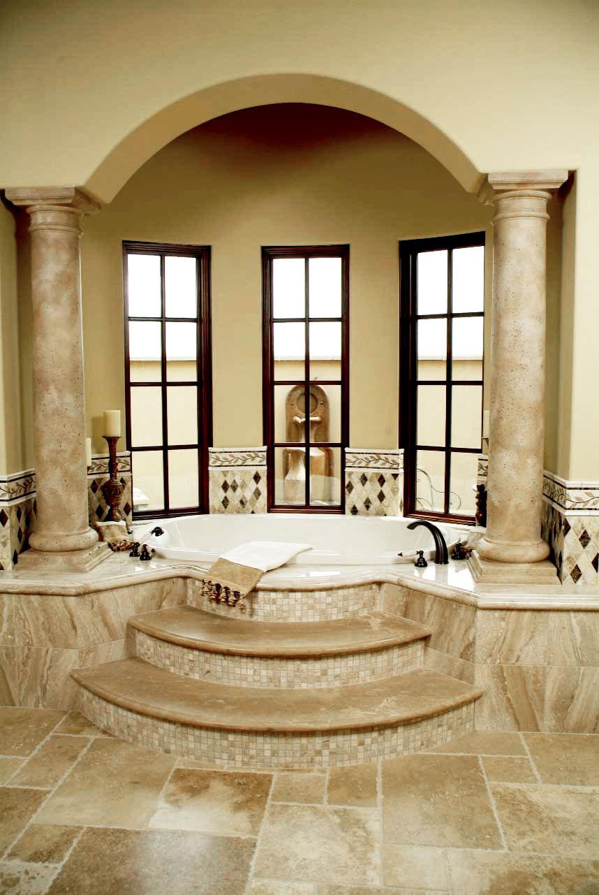 Tuscan Bathroom Design With Oversized Tub