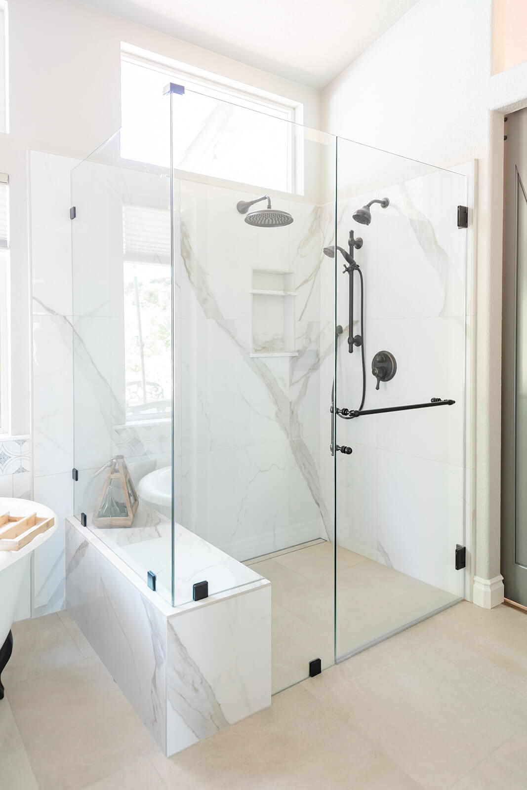 Traditional Classic Shower Design Marble