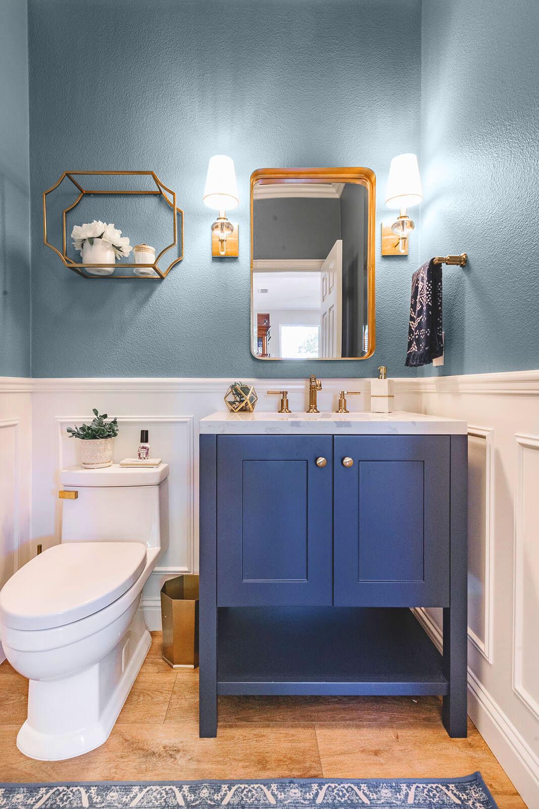 Blue powder bathroom