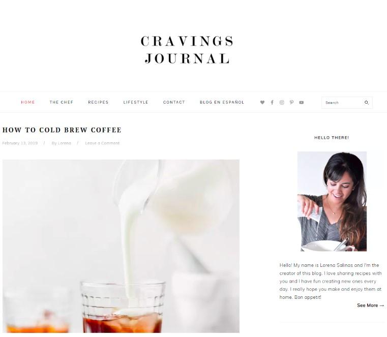 cravings journal web design