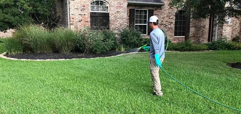 Greener LawnScapes team member spraying for fleas and ticks in College Station