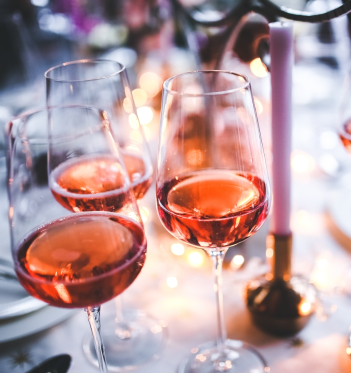 Rose wine glasses.