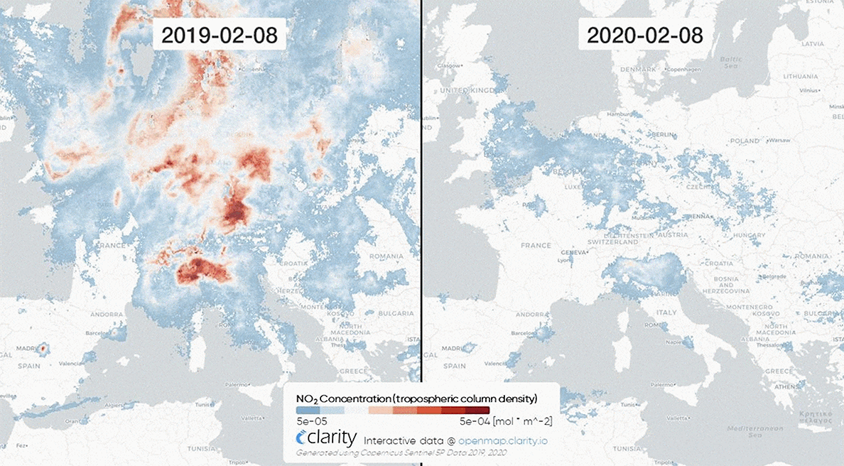 Satellite data shows the impact of COVID on air pollution.
