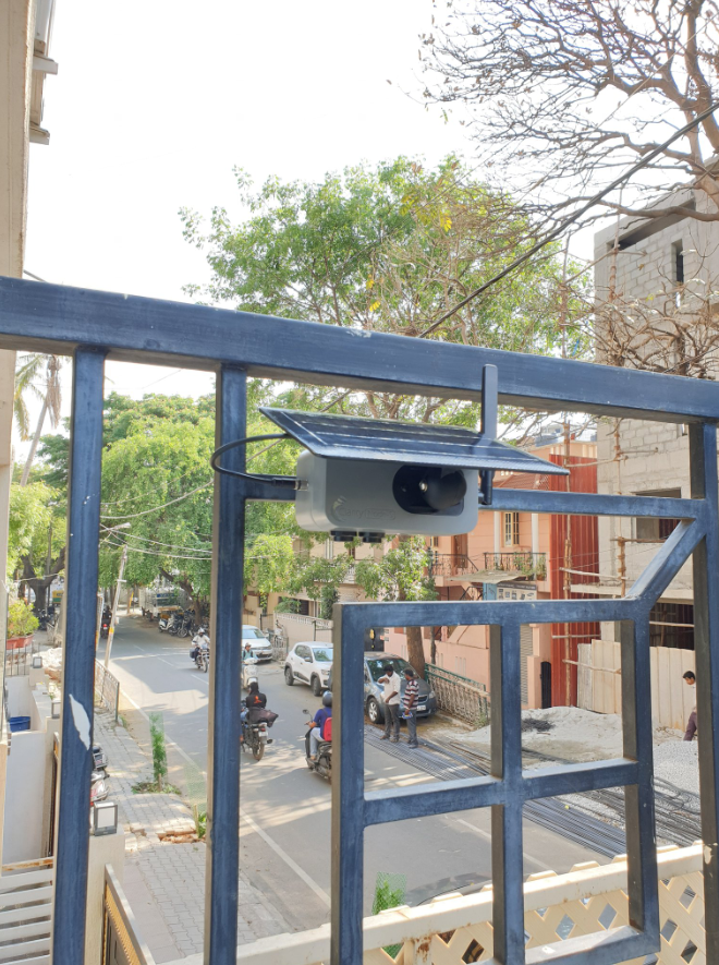 Active Clarity Node-S generating real-time air quality data in a Bengaluru neighborhood