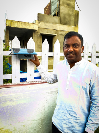 Clement Jayakumar with a Clarity Node at his home in Doddanekundi