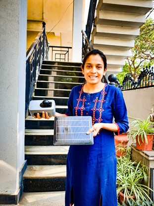 Varsha Kej hosting a Clarity Node as a part of the community air quality monitoring initiative in Bengaluru.