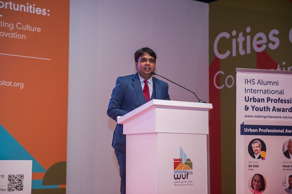 Author Ritwajit Das accepting the Youth Professional Award 2020 by IHS Alumni International for Excellency & Leadership in Urban Management and Development at the 10th Session of the World Urban Forum.