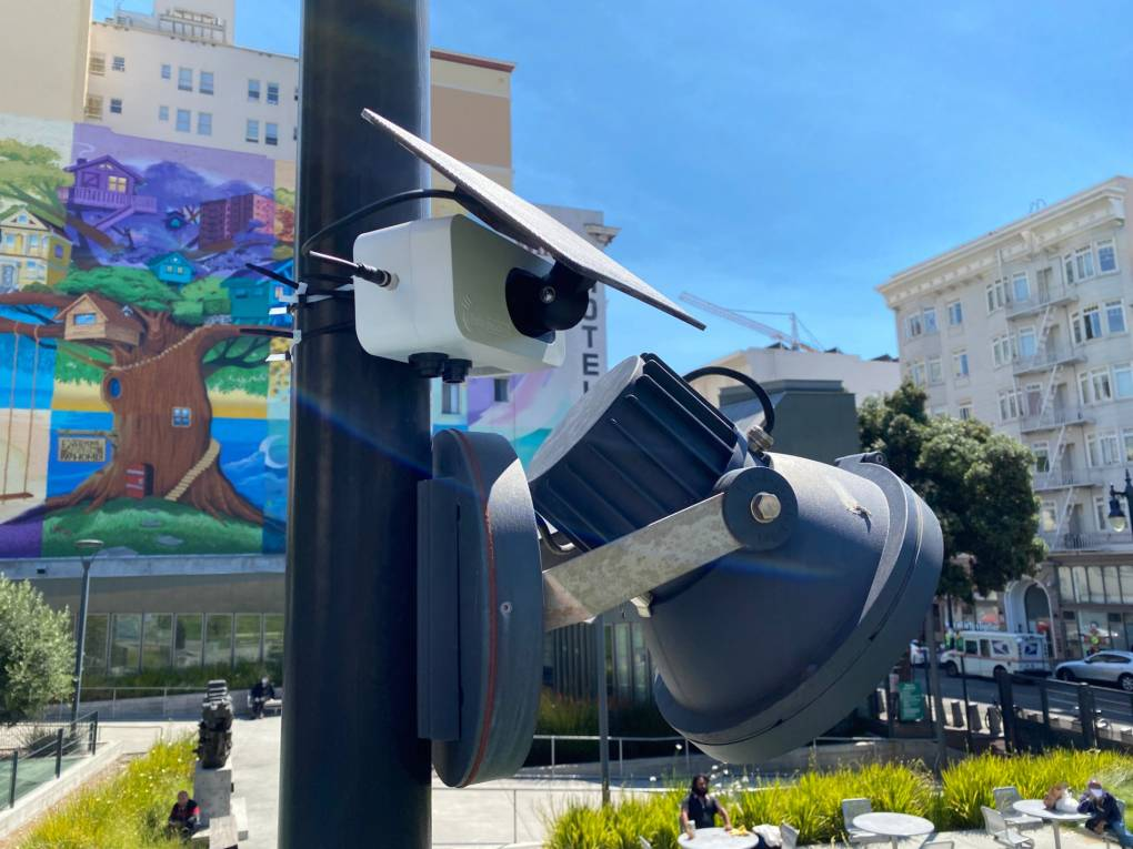 A Clarity Node-S low-cost air quality sensors measures air pollution near a public park in San Francisco.