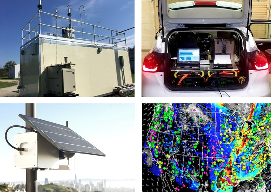 A reference-grade federal FRM/FEM monitor, mobile air sensor, stationary low-cost sensor, and satellite imaging are displayed as different types of air quality monitoring technologies.
