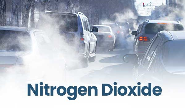 The image shows a major source of nitrogen dioxide air pollution: the fuel combustion from motor vehicles.