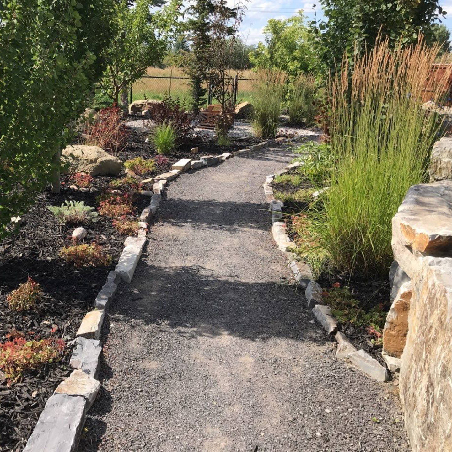 Accent your patio with custom features and focal points with natural pathways and elegant stone stairways.