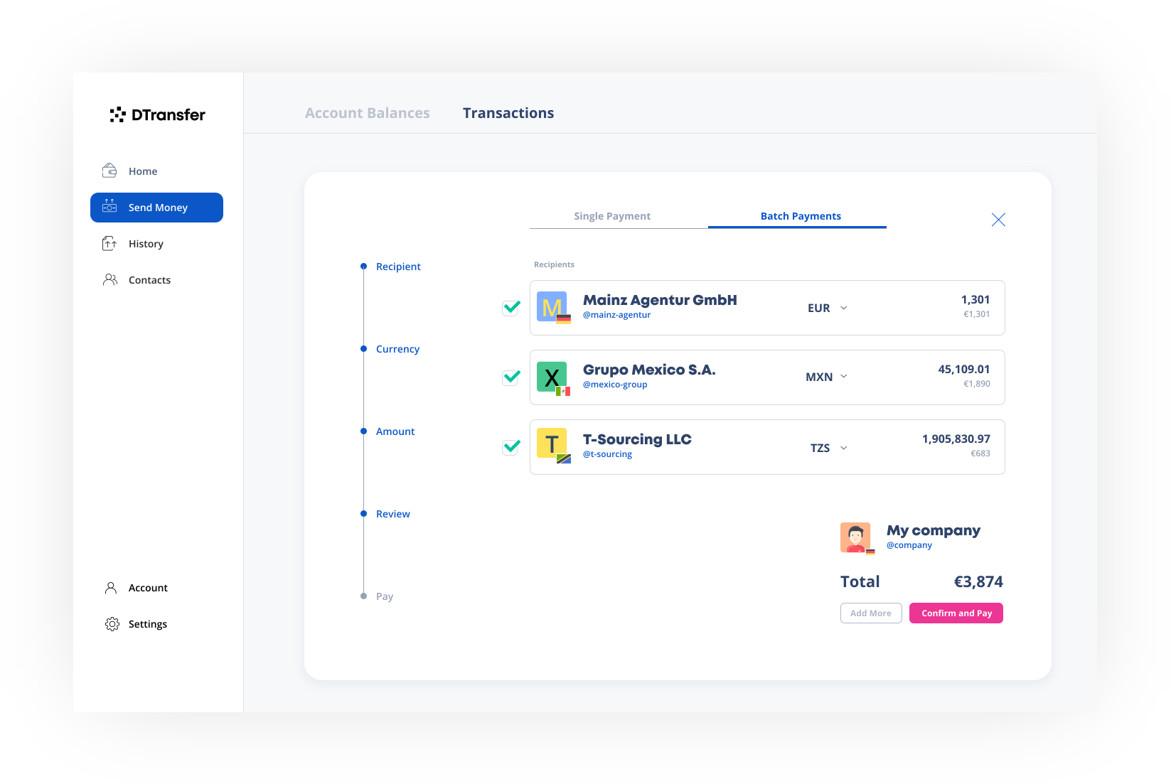 DTransfer - send mass payments instantly