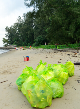 Bags of trash from a coastal cleanup.
