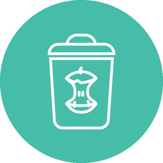 Icon of a trash bin with organic waste.