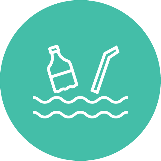 Icon of trash in the ocean.