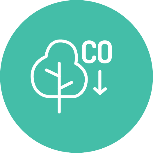 Icon of carbon emission offset.