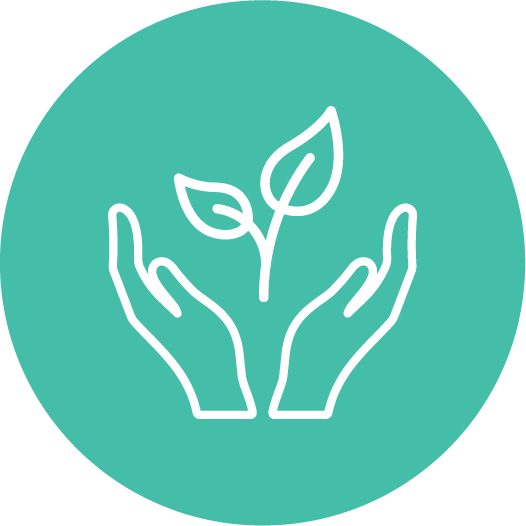 Icon of a pair of hand with leaf.