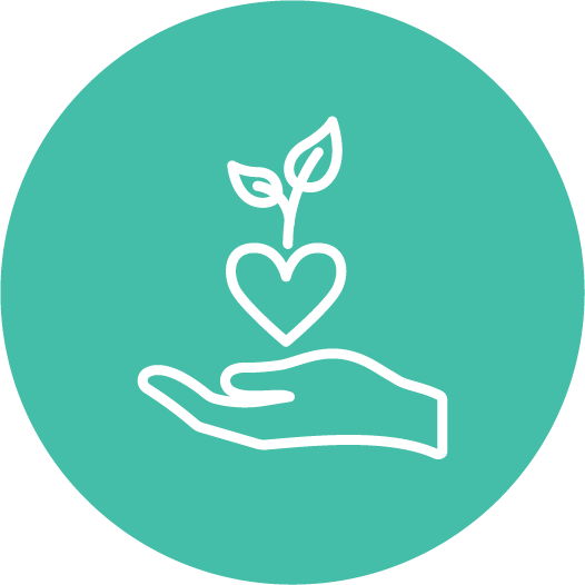 Icon of a hand holding a heart with a leaf.