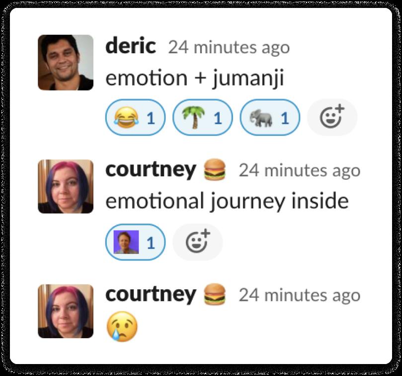 "Screenshot of Slack conversation with guesses of ""emotion + jumanji"" and ""emotional journey inside"""