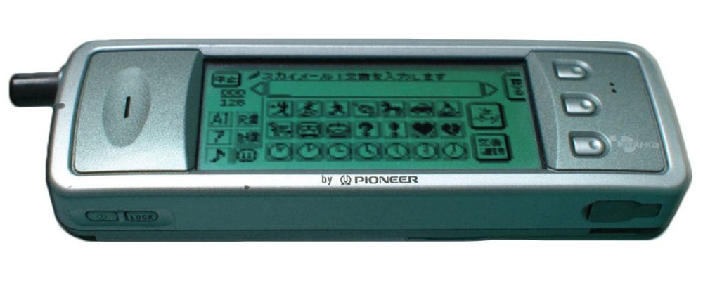 Early model of the J-Phone with emojis on screen, https://blog.emojipedia.org/correcting-the-record-on-the-first-emoji-set/