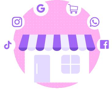 Loja online conectada com Instagram, Facebook, Google, WhatsApp e Tiktok