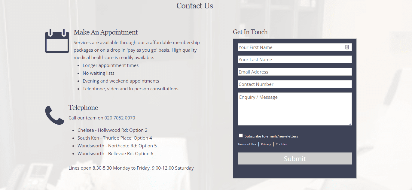 dental website contact section