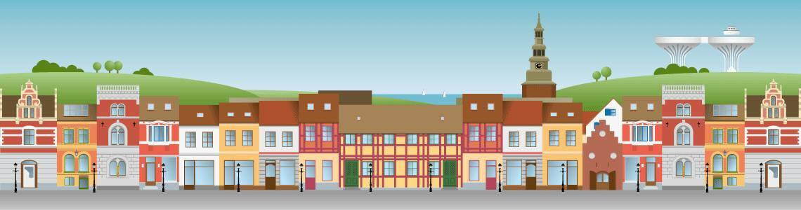 A graphic made image of the Swedish town Ystad