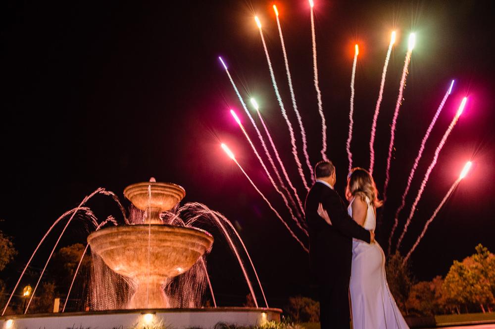 Fireworks after a wedding