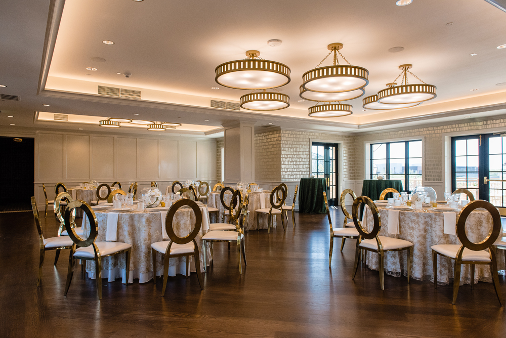 very spacious room set for a party