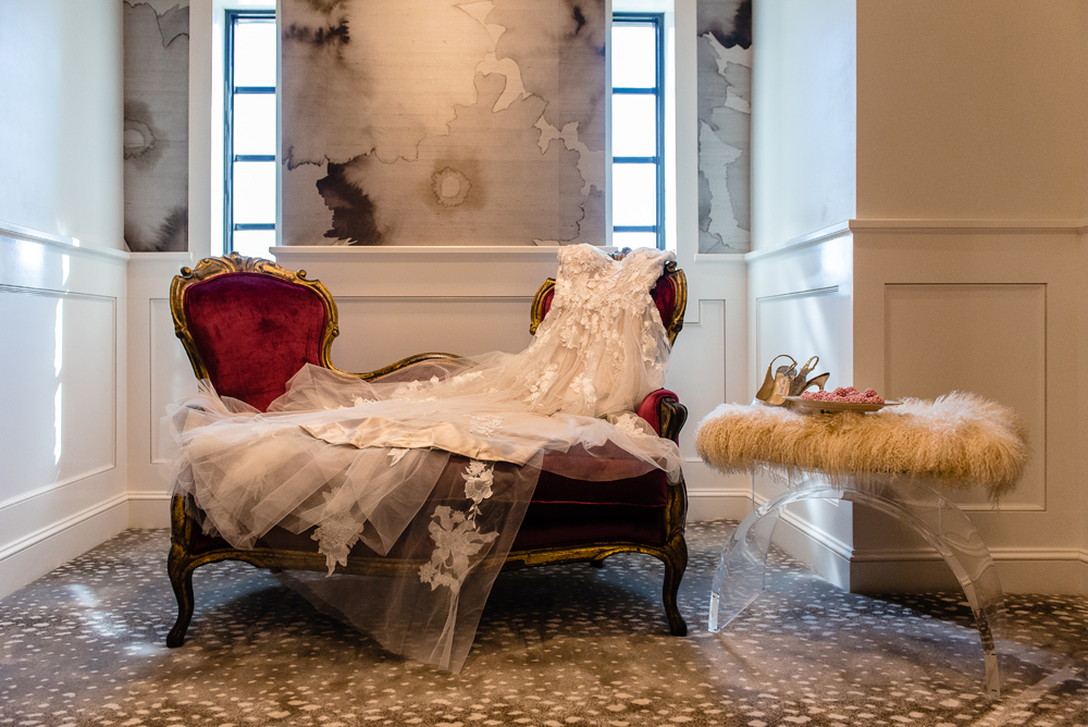 wedding dress in a couch