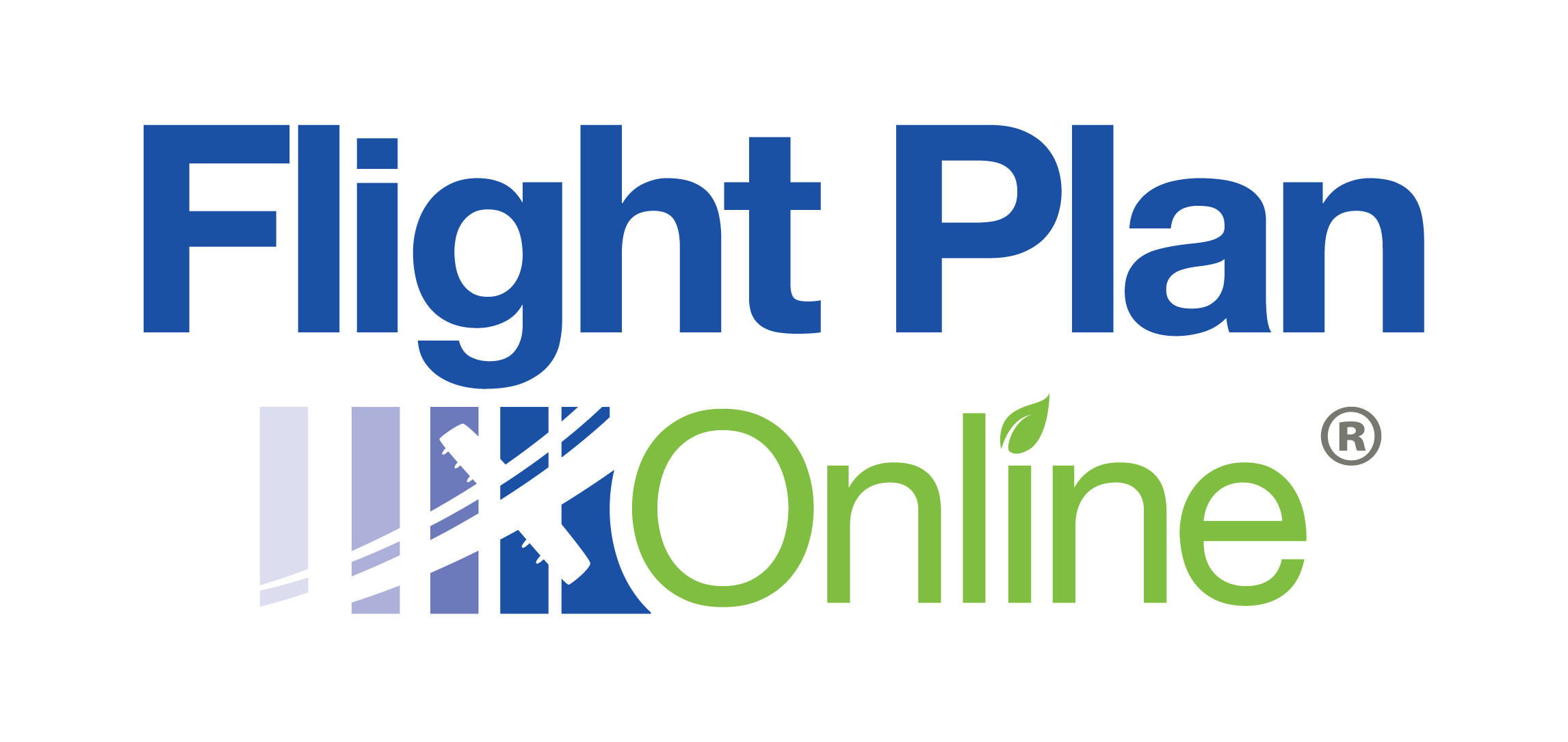 Flight Plan Online. Blue and green logo with graphic image of airplane taking off.
