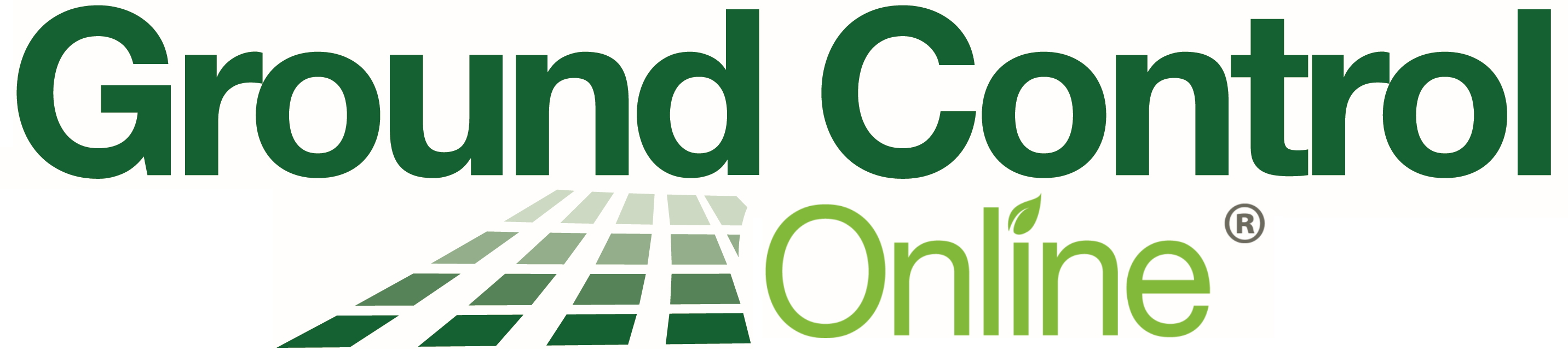 Ground Control Online. Green logo with graphic of green crop rows.