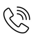 Graphic image of a phone handset with sound waves coming from it to show a call.